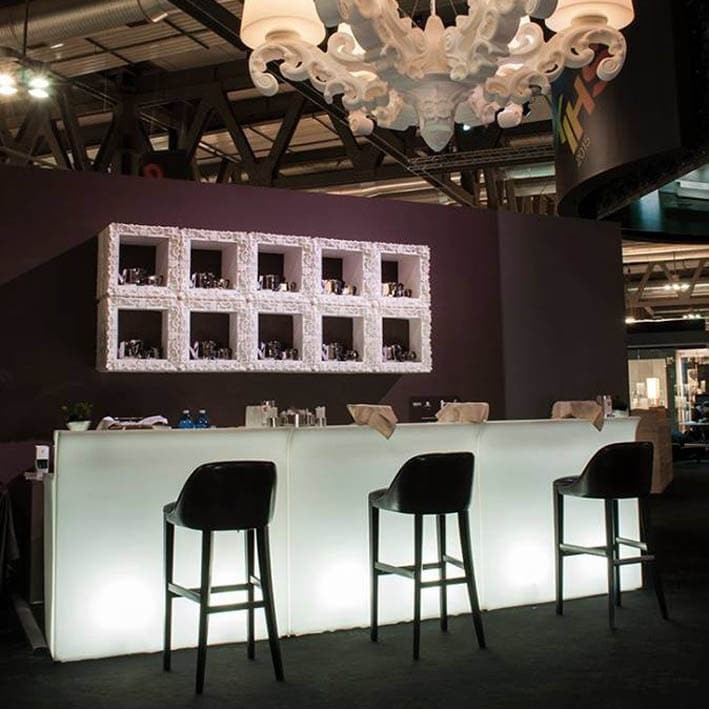 Break Line Theke, beleuchtete Designer Bar von Slide Italy erweiterbar