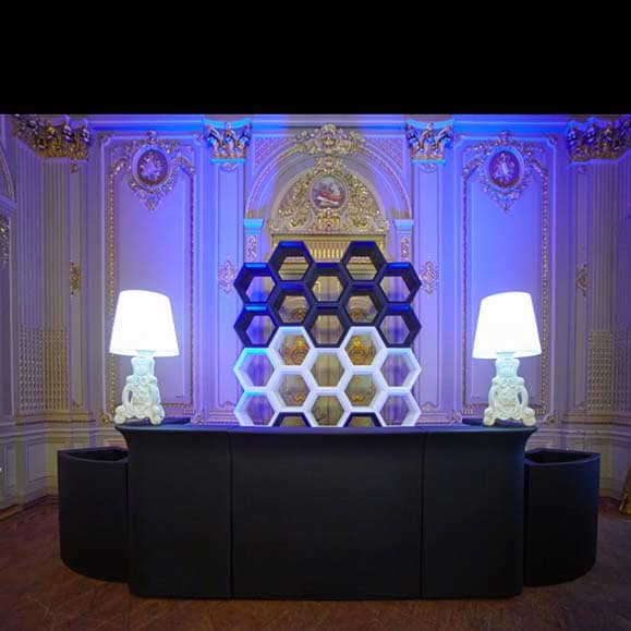 slide hexa light design regal beleuchtet modular 198 cm breit indoor. Black Bedroom Furniture Sets. Home Design Ideas