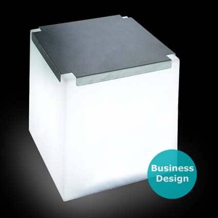 Slide KUBO INOX Leuchtwürfel / Sitzwürfel mit Edelstahl-Top