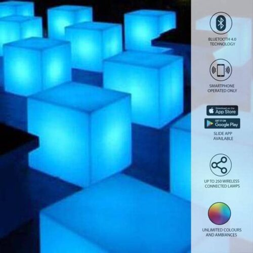 Slide CUBO BIZ 40 mit BLUETOOTH-LED-AKKU CANDY LIGHT In-Outdoor
