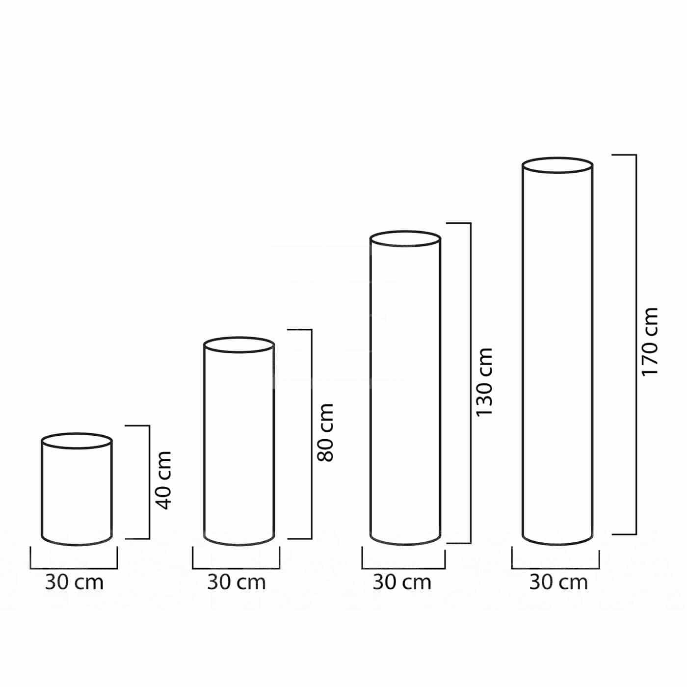 slide fluo runde leuchts ulen in 40 80 130 und 170 cm h he in outdoor. Black Bedroom Furniture Sets. Home Design Ideas