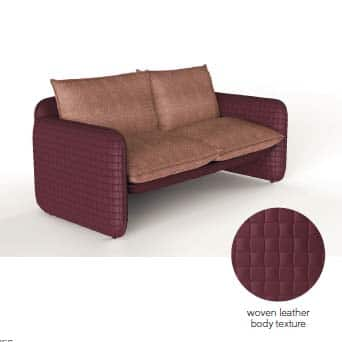Slide MARA SOFA Luxus-Leder-Optik 180 cm b, In-Outdoor
