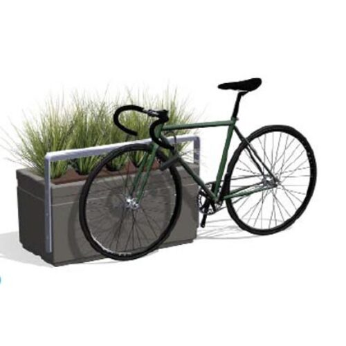 POÉTIC-HORIZON-RECTANGULAIRE-VELO Pflanzkasten 50 cm h mit Fahrradhalter